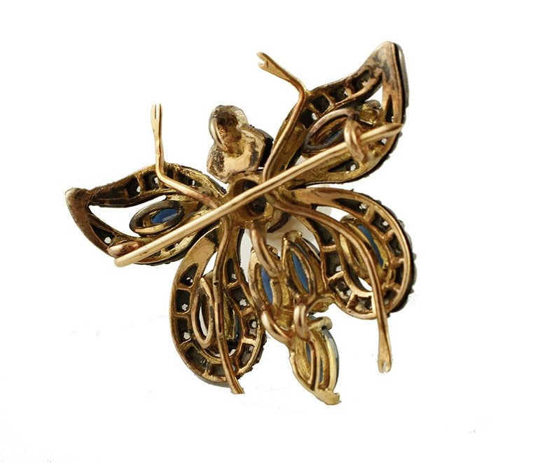 Diamonds,Blue Sapphires,Pearl, 14k Rose Gold and Silver Butterfly Pendant/Brooch In Excellent Condition For Sale In Marcianise, Caserta