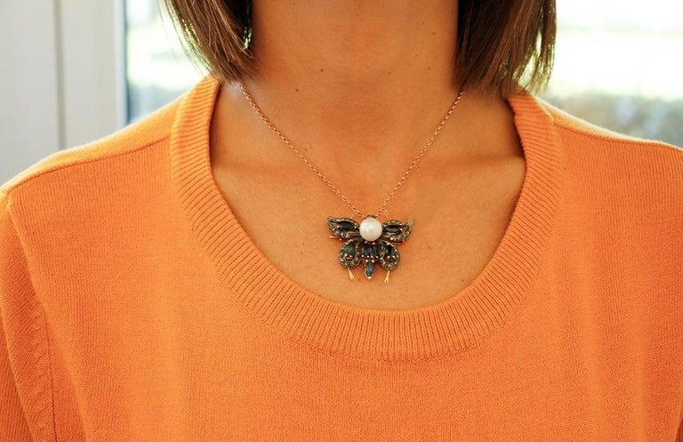 Diamonds,Blue Sapphires,Pearl, 14k Rose Gold and Silver Butterfly Pendant/Brooch For Sale 1