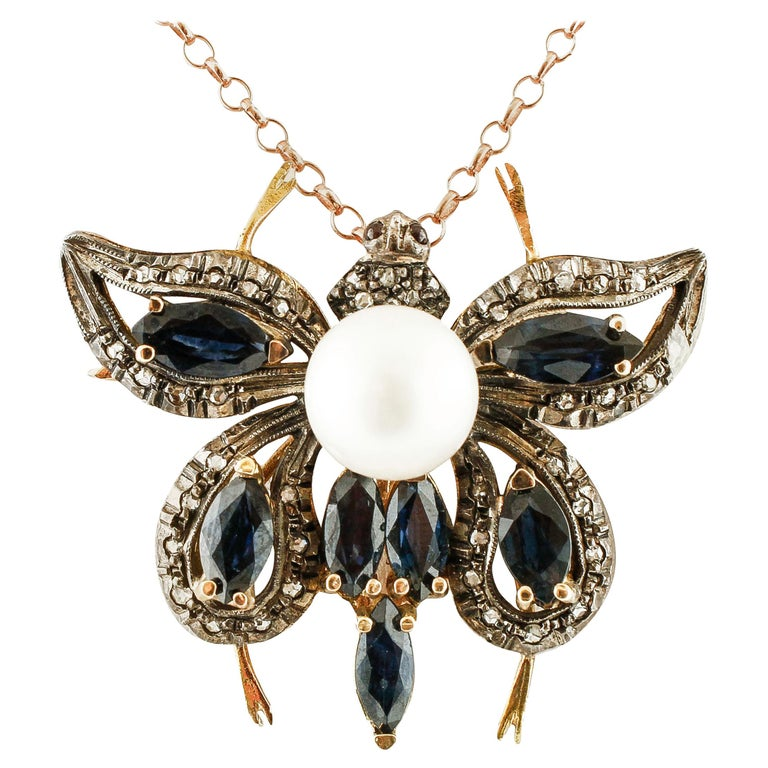 Diamonds,Blue Sapphires,Pearl, 14k Rose Gold and Silver Butterfly Pendant/Brooch For Sale