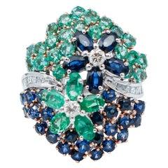 Diamonds, Emeralds, Blue Sapphires, 14 Karat White Gold Cocktail Ring