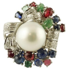 Diamonds,Emeralds,Rubies, Sapphires, South Sea Pearl,14 Karat Gold Cocktail Ring