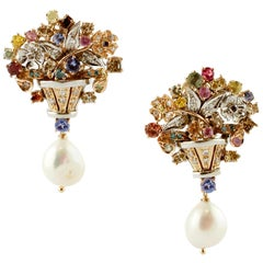 Diamonds,Multicolor Sapphires,Tanzanite,Pearls 14kt White and Rose Gold Earrings