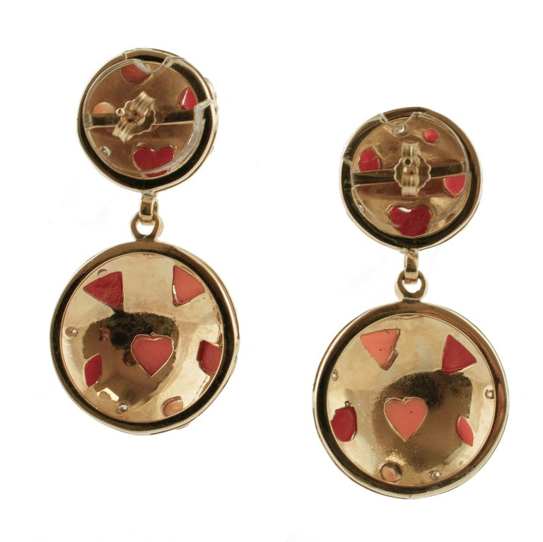 Retro Diamonds, Pink and Red Coral, 14 Karat Rose Gold Earrings For Sale