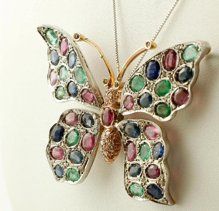 Retro Diamonds Rubies Emeralds Sapphires, 9k Gold and Silver, Butterfly Pendant/Brooch For Sale