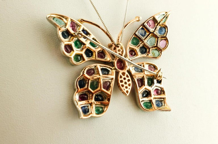Mixed Cut Diamonds Rubies Emeralds Sapphires, 9k Gold and Silver, Butterfly Pendant/Brooch For Sale