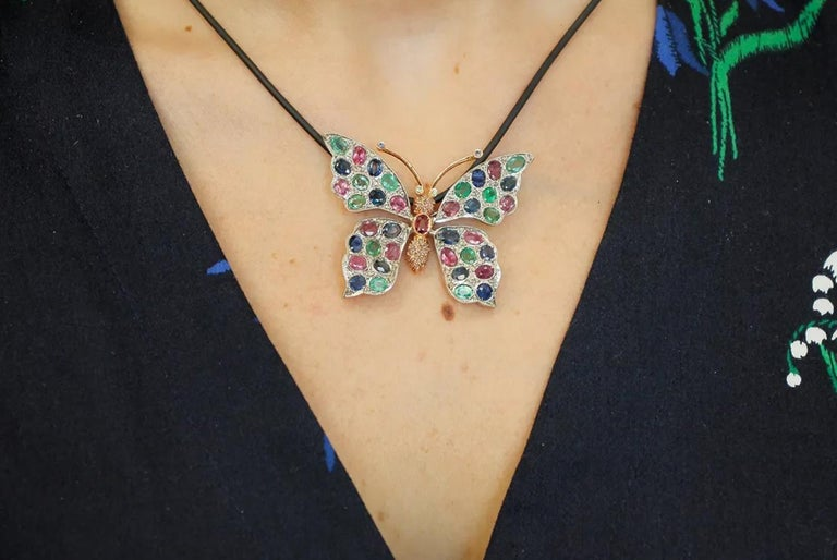 Diamonds Rubies Emeralds Sapphires, 9k Gold and Silver, Butterfly Pendant/Brooch For Sale 1