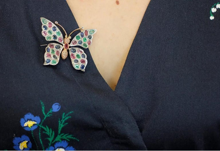 Diamonds Rubies Emeralds Sapphires, 9k Gold and Silver, Butterfly Pendant/Brooch For Sale 3
