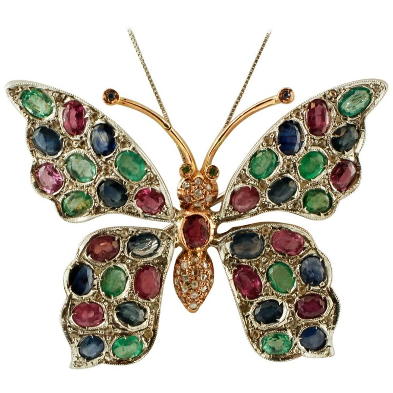Diamonds Rubies Emeralds Sapphires, 9k Gold and Silver, Butterfly Pendant/Brooch For Sale