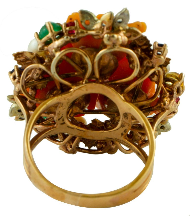 Retro Diamonds, Rubies, Emeralds, Sapphires, Pearls Coral 9 Karat Gold and Silver Ring