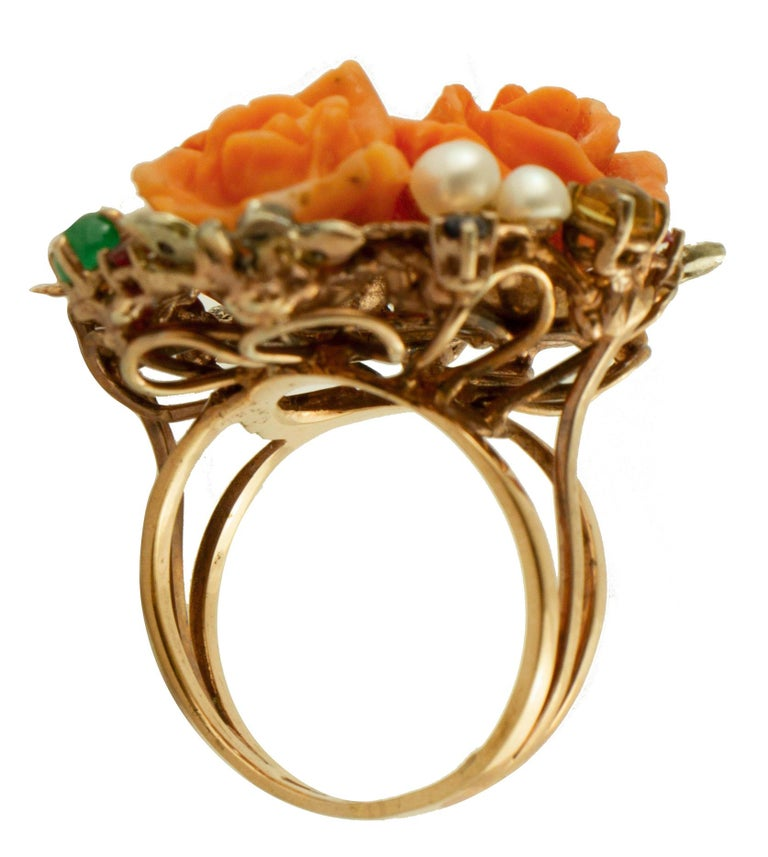 Diamonds, Rubies, Emeralds, Sapphires, Pearls Coral 9 Karat Gold and Silver Ring In Excellent Condition In Marcianise, Caserta