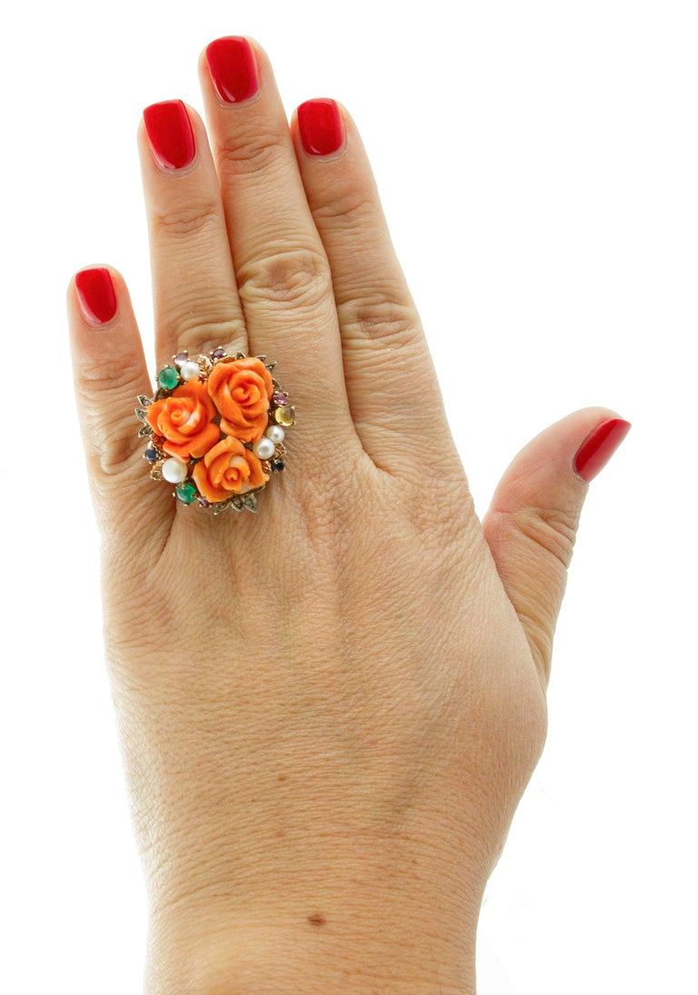 Women's Diamonds, Rubies, Emeralds, Sapphires, Pearls Coral 9 Karat Gold and Silver Ring