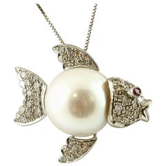 Diamonds, Ruby, South Sea Pearl, Gold Fish-Shaped Pendant 'Chain Not Included '
