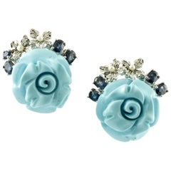 Diamonds, Sapphires, Little Pearls, Turquoise, Roses, 14 Karat Gold Earrings