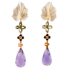 Diamonds, Sapphires, Mother of Pearl, Hydro. Amethyst, 14 Karat Gold Earrings