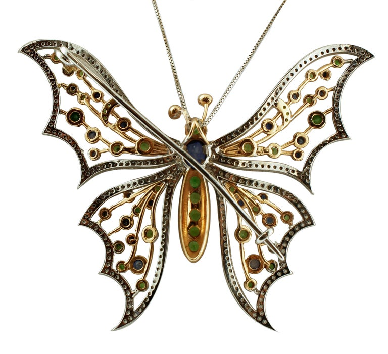 Diamonds, Sapphires, Tsavorite, 14 Kt White Yellow Gold Butterfly Brooch Pendant In Good Condition For Sale In Marcianise, Caserta
