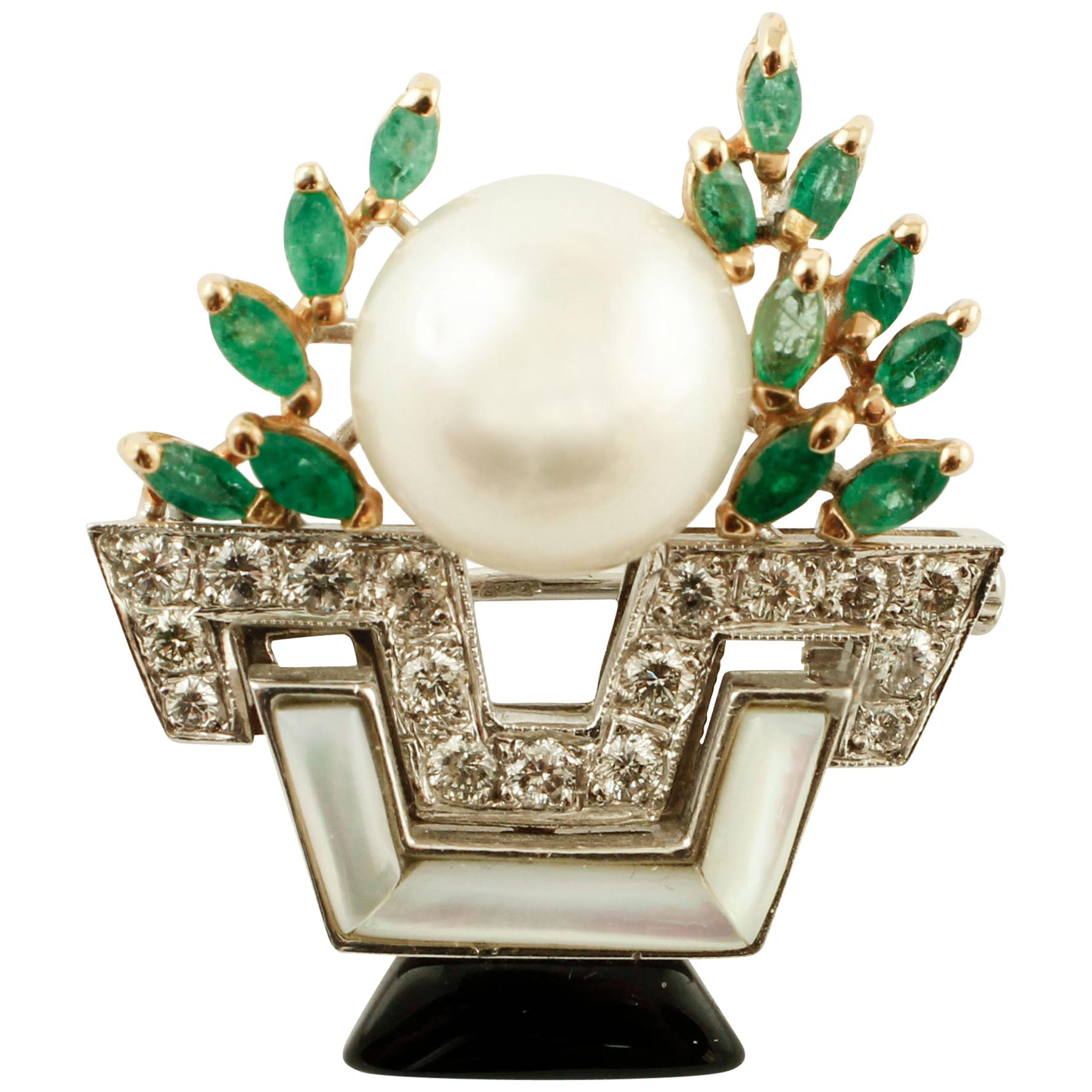 Diamonds,South Sea Pearl,Emeralds,Onyx,Mother of Pearl, 14k Gold, Brooch/Pendant
