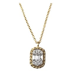 DiamondTown 0.14 Carat Baguette and Round Dia Pendant in Yellow and White Gold