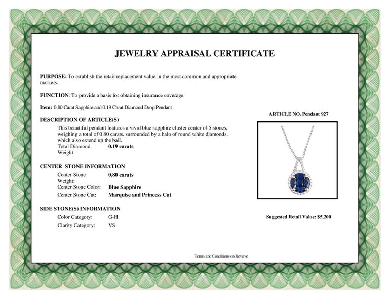 DiamondTown 0.80 Carat Sapphire and 0.19 Carat Diamond Drop Pendant In New Condition In New York, NY