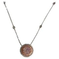 DiamondTown 0.85 Carat Natural Pink Diamond Pendant in 18k Rose and White Gold