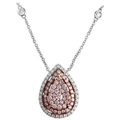DiamondTown 0.88 Carat Natural Pink and White Diamond in 18k White and Pink Gold