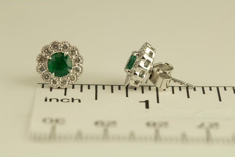 Round Cut DiamondTown 0.95 Carat Emerald and 0.52 Carat Diamond Milgrain Flower Earrings For Sale