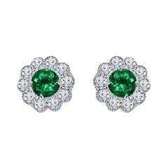 DiamondTown 0.95 Carat Emerald and 0.52 Carat Diamond Milgrain Flower Earrings