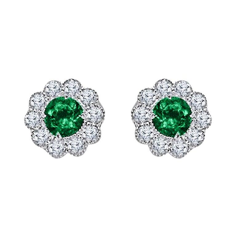 DiamondTown 0.95 Carat Emerald and 0.52 Carat Diamond Milgrain Flower Earrings For Sale