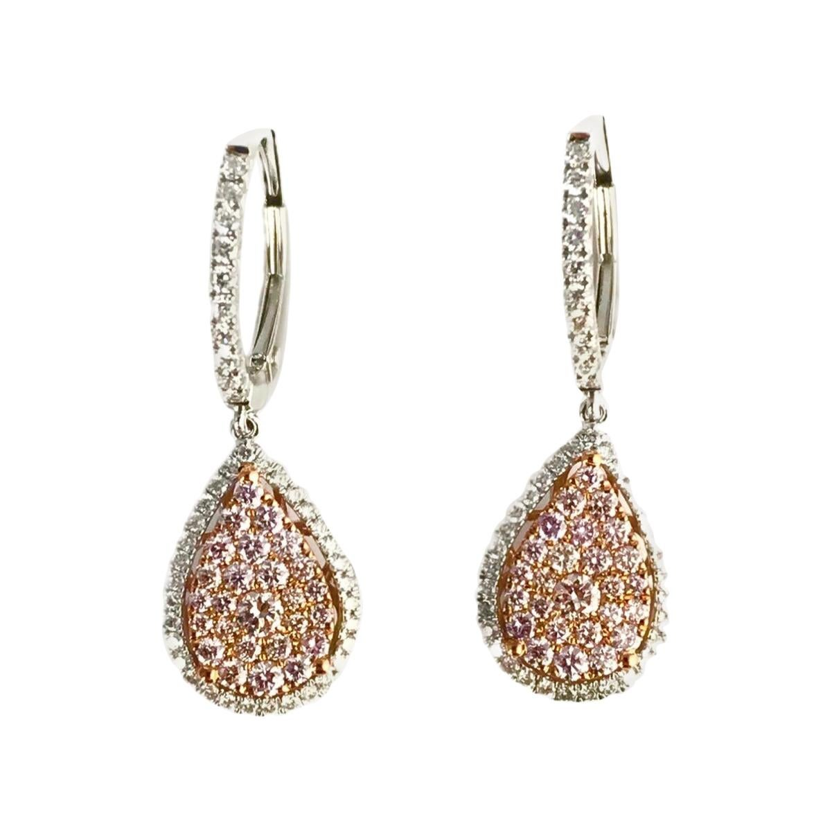 DiamondTown 0.95 Carat Natural Pink Diamond Lever-Back Diamond Earrings in 18k