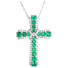 DiamondTown 0.96 Carat Emerald and 0.41 Carat Diamond Cross Pendant