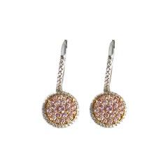 DiamondTown 0.96 Carat Natural Pink Diamond Lever-Back Diamond Earrings in 18k