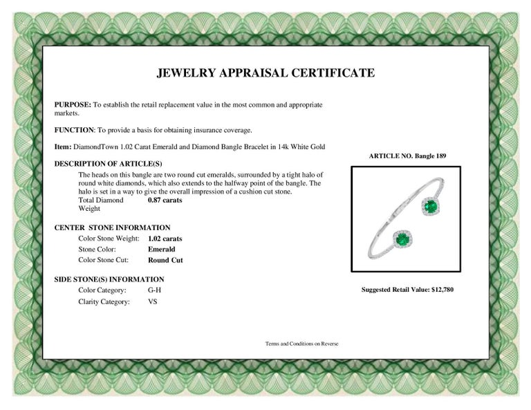 DiamondTown 1.02 Carat Emerald and Diamond Bangle Bracelet in 14k White Gold For Sale 5
