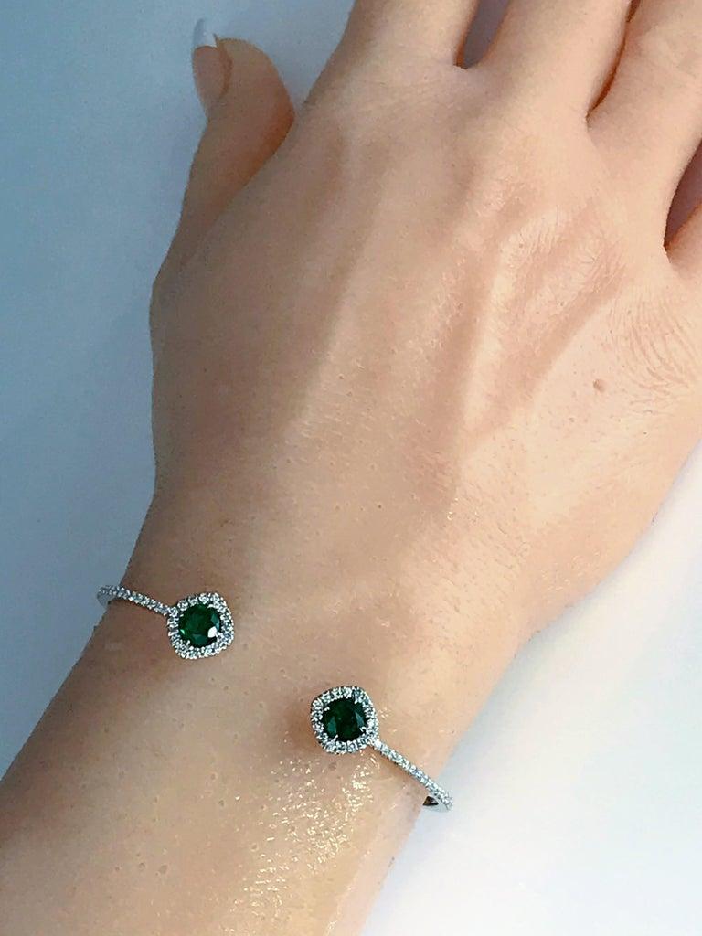Women's DiamondTown 1.02 Carat Emerald and Diamond Bangle Bracelet in 14k White Gold For Sale
