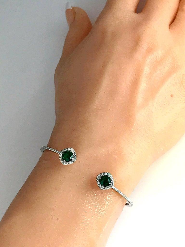 DiamondTown 1.02 Carat Emerald and Diamond Bangle Bracelet in 14k White Gold For Sale 1