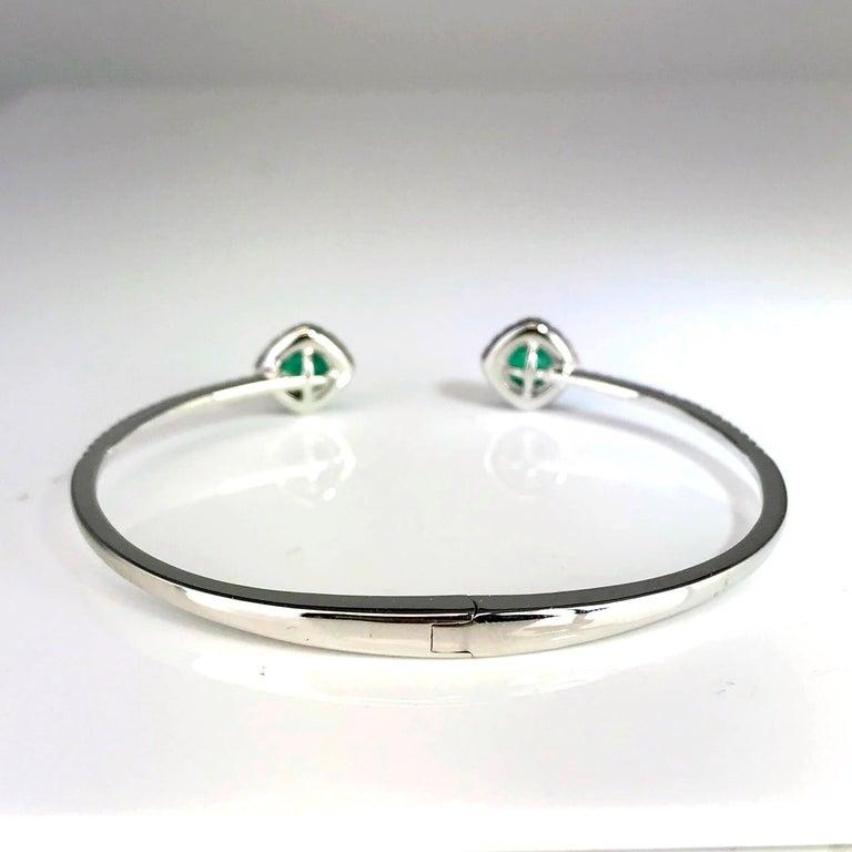 DiamondTown 1.02 Carat Emerald and Diamond Bangle Bracelet in 14k White Gold For Sale 4