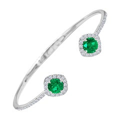 DiamondTown 1.02 Carat Emerald and Diamond Bangle Bracelet in 14k White Gold