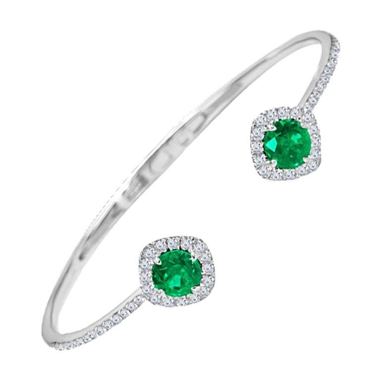 DiamondTown 1.02 Carat Emerald and Diamond Bangle Bracelet in 14k White Gold For Sale