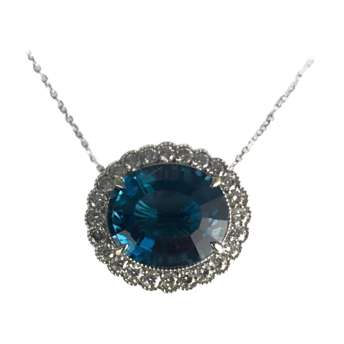 DiamondTown 10.6 Carat Blue Topaz and 0.80 Ct Diamond Pendant in 14k White Gold