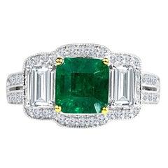 Diamond Town 1.10 Carat Emerald and 1.03 Carat Diamond Ring in 18 K White Gold