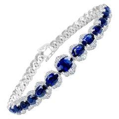 DiamondTown 11.93 Carat Vivid Blue Sapphire and Diamond Bracelet