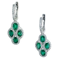 DiamondTown 1.23 Carat Fine Emerald and Diamond Earrings in 18 Karat White Gold