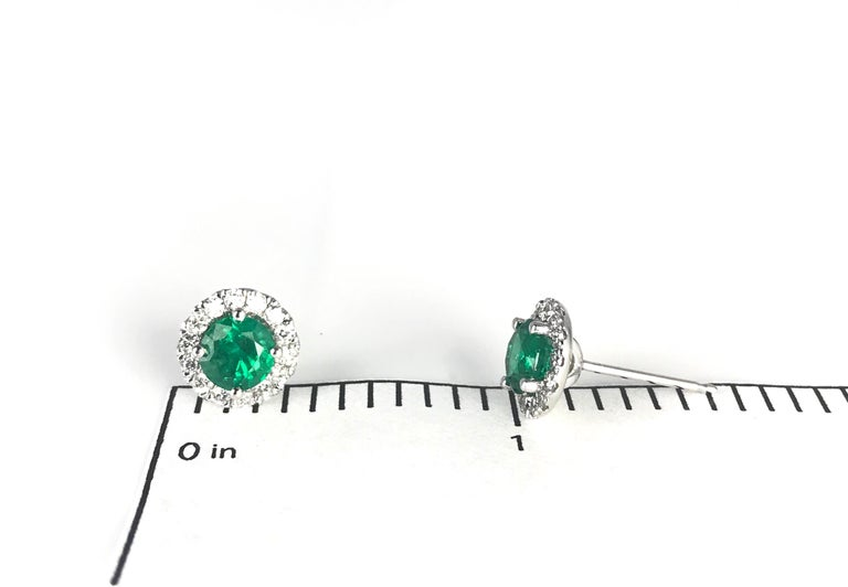 Contemporary DiamondTown 1.3 Carat Round Emerald and Diamond Earrings in 14k White Gold For Sale