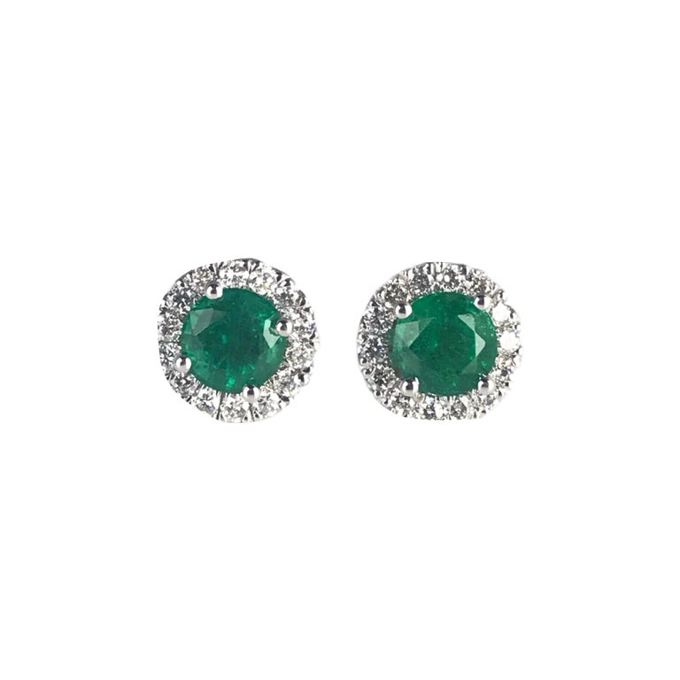 DiamondTown 1.3 Carat Round Emerald and Diamond Earrings in 14k White Gold For Sale