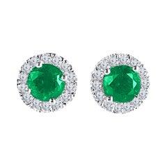 DiamondTown 1.3 Carat Round Emerald and Diamond Earrings in 14k White Gold