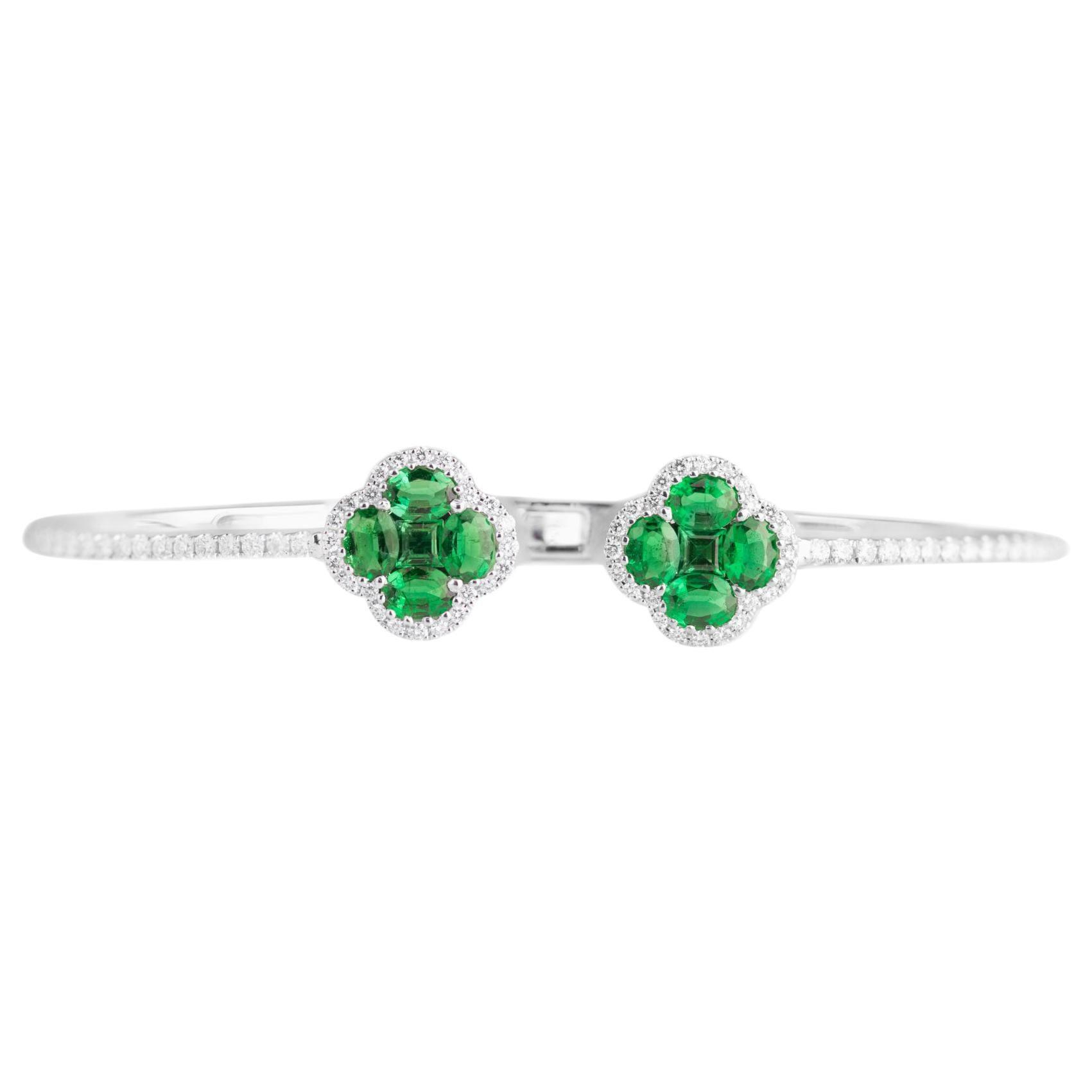 DiamondTown 1.33 Carat Emerald Clover and Diamond Bangle in 18k White Gold