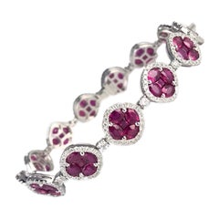 DiamondTown 13.33 Carat Ruby and 2.24 Carat Diamond Clover Bracelet in 18k White