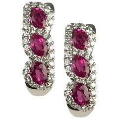 DiamondTown 1.34 Carat Marquise Cut Ruby Hoop Earrings with 0.39 Carat Diamonds