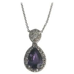DiamondTown 1.49 Carat Pear Shape Lavender Sapphire and Diamond Pendant