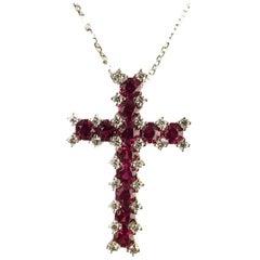 DiamondTown 1.52 Carat Ruby Cross Pendant with 0.30 Carats Diamond in 18k White