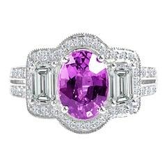 DiamondTown 1.65 Carat Oval Cut Pink Rose Sapphire and Diamond Halo Ring