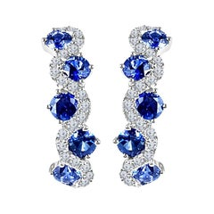 DiamondTown 1.65 Carat Vivid Blue Sapphire and Diamond Lever-Back Earrings